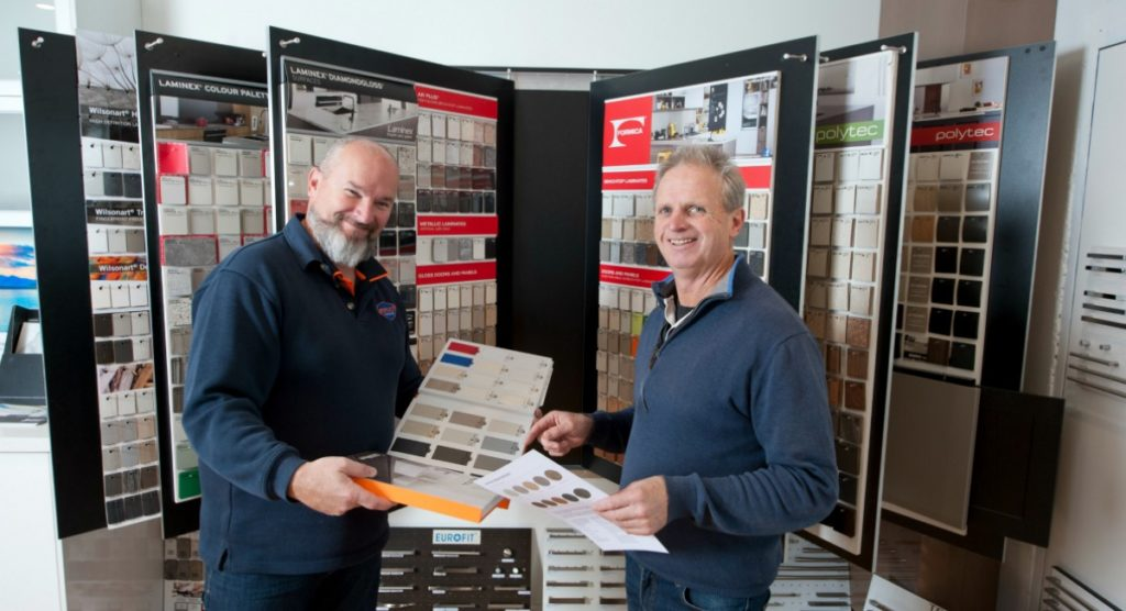 ICM Geelong members Shane Jones from Maxi Cabinets and Peter Hammond from Windsor Kitchens