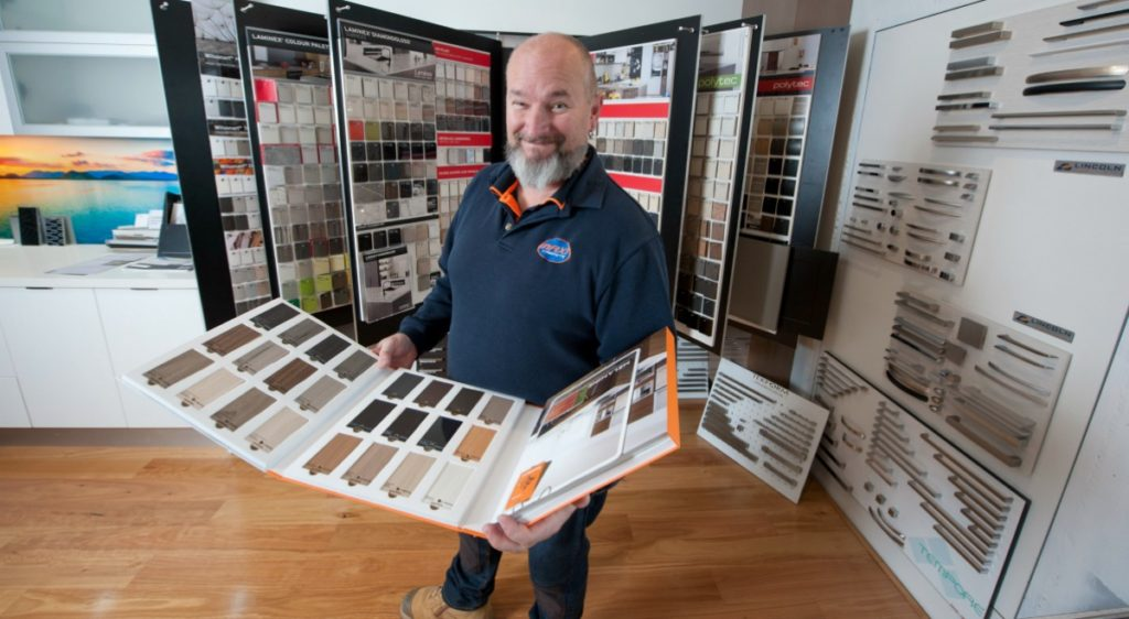 Shane Jones from Maxi Cabinets shows of in the Maxi Cabinets showroom. Maxi Cabinets is an ICM Geelong Member.