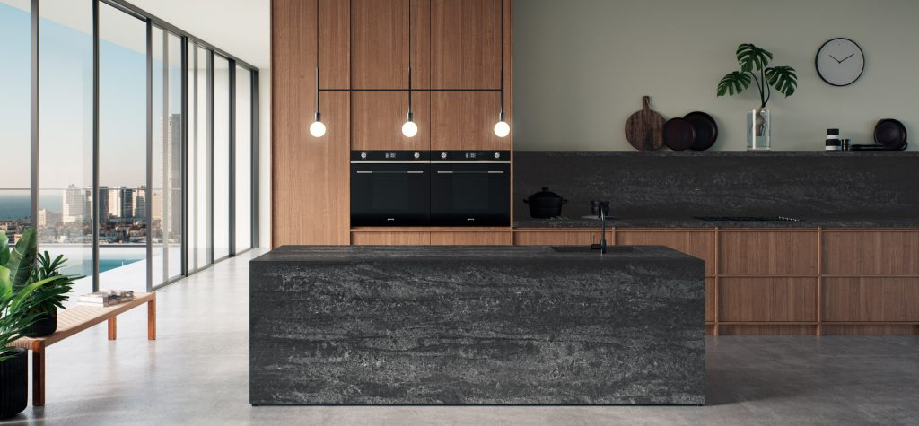 Black and timber home interior kitchen by Caesarstone