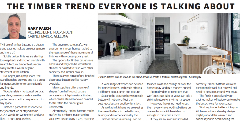 Timber Battens in the kitchen as appeared in Geelong GT Magazine