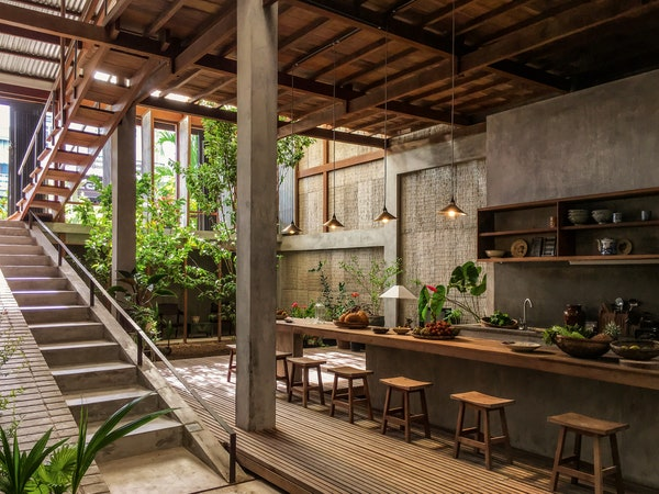 Image of a kitchen with an indoor outdoor garden